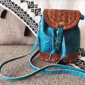 Vintage tooled leather mini crossbody bag